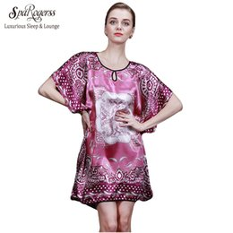 Wholesale Summer Dresses For Big Women - Wholesale- 2017 Big Sale Women Nightgown Summer Style Home Night Shirt Of Dressing Gowns For Women Satin Silk Bathrobe 10007