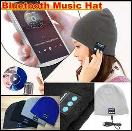 Wholesale Wireless Iphone Amplifier - Soft Warm Hat mini Wireless speaker bluetooth receiver amplifier audio music speaker Smart Cap Headset Headphone for iphone 6 6s plus