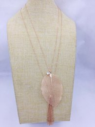 Wholesale Leaf Findings - new rose gold plated fashion real leaf pendant chain tassel rhinestone metal finding charm long chain 2 row long chain necklace