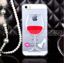 Wholesale Wine Cups Case - Hot Red Wine Cup Liquid Transparent Kickstand Case Cover For iPhone 5 6 6s 7 Plus Samsung S7 S6 Edge Cases