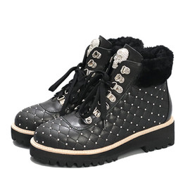 Wholesale Lace Up Studded Boots - British style winter Boots women skull rivets studded leather Ankle Boots Round toe wool decor lace up martin snow boots