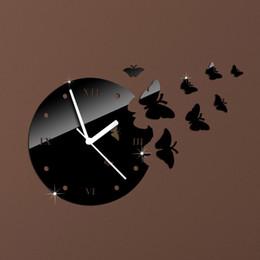 2019 relógio borboleta preto 8pcs borboletas negras relógio de parede relógio de parede espelho, espelho de cristal 3d relógios de parede de parede, 3butterflies total. relógio borboleta preto barato