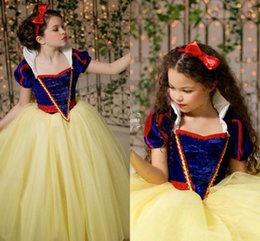 Wholesale Classy Yellow Dresses - Classy Blue And Yellow Snow White Princess Flower Girl Dresses Capped Sleeves With High Neck Puffy Girl Party Dresses Floor length