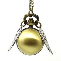 Wholesale Harry Potter Golden Snitch Watch - Harry Potter gold golden snitch pocket watches necklace with chain antique pocket fob watches 10pcs lot