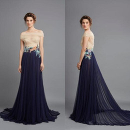 Wholesale Al Training - 2018 Alluring Floral Appliqued Evening Dresses Hamda Al Fahim Off The Shoulder Pleated navy blue Prom Gowns Sweep Train Tulle Evening Dress