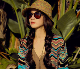 Wholesale-Fashion Woman Summer Short Brim Bohemia Style Straw Braid Beach  Sun Hat Sunbonnet Bucket hat 570b35677bfd