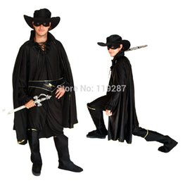 Wholesale Stage Clothes For Men - Free shipping Halloween costume masquerade Zorro whole set cosplay clothing for men stage performance carnival clothes