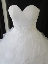 Wholesale High Waist Organza - 2015 Vintage White Wedding Dresses Sweetheart Ruffles Ball Gown Wedding Gowns With Beaded Waist Belt Organza Bridal Gowns Custom Made