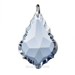 Wholesale Hanging Crystal Drops - 10pcs 63mm Clear Crystal Maple Leaf Shape Chandelier Prisms Hanging Drops Pendants Lamp DIY Parts