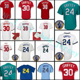 Wholesale Cheap Green Shorts - Cheap #30 Ke Griffe Jersey sales Men 24 Ken Griffe Baseball Jerseys stitched FlexBase CoolBase Jersey Free Shipping