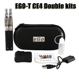 Wholesale Double Ego Cases - Ego t ce4 double starter kit 1.6ml ce4 atomizer clearomizer 650 900 1100mAh ego-t battery zipper case colorful