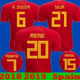 Wholesale Fabregas Jersey - Thailand 2018 2019 Spain Home Asensio ISCO RAMOS MORATA Soccer Jerseys 18 19 New Spain camisetas Away SILVA PIQUE A.INIESTA FABREGAS Shirts