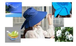 Wholesale Chapeau Femme - Wholesale-floppy sun hat cotton 7color anti-uv chapeau soleil femme feminino ladies beach cap hats for women femele outdoor free shipping