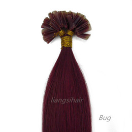 "Wholesale Color Tipped Hair Styles - Brazilian U-tip Human Hair 15""-22"" 100s Bug Color, wholesale prices Brazilian Indian Peruvian Malaysian Nail-hair extensions Straight Style"