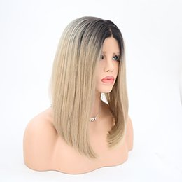 Wholesale Two Tone Blonde Short Wigs - New Sexy Two Tones Wigs Ombre Blonde Heat Resistant 1b  613 27# Short Bob Synthetic Wigs Glueless Lace Front Wigs for Black Women