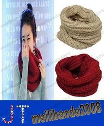 Wholesale Ladies Wool Blend Wrap Shawl - Women Ladies Girls Warm Knit Neck Circle Wool Blend Cowl Snood Scarf Shawl Wrap new free shipping MYY14476