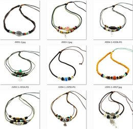 Wholesale Necklace Surfer - Bulk Surfer Tribal Woven Hemp Leather Necklace beaded anchor alloy retro ethnic style Cotton rope braided leather Necklace Unisex 100