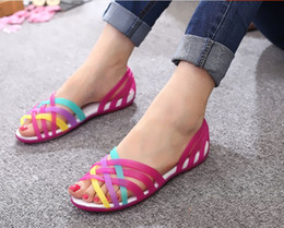 Wholesale Rainbow Heels - 2016 Summer Hot Plastic Melissa Woman Rainbow Jelly Sandals Fish Head Flat Beach shoes