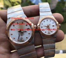 Wholesale Men Sapphire Bracelet - Top Quality lovers 2PCS Stainless Steel Bracelet Men's Lager Quartz Constellation Double Eagle Perpetual Men's watch 1213.30 MAN WATCH Wris