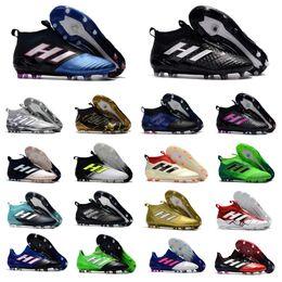 Wholesale Original Leather Soccer Boots - New 2018 100% Original ACE 17+ PureControl FG Soccer Shoes Mens Football Boots ACE 17.1 Leather FG Soccer Cleats