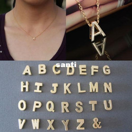 Wholesale Gold Name Plates - Letter name Initial chain Pendant Fashion Necklace A-Z Gold plate
