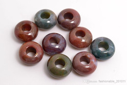 Wholesale Wholesale Gemstones India - Lots luxury Jewelry natural India Agate Gemstone Round Beads High Polished Loose Beads 5mm Big Hole Fit Charms European Bracelet DIY #B104y
