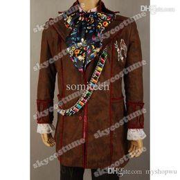 Wholesale Cosplay Mad Hatter - Wholesale-Alice In Wonderland Johnny Depp Mad Hatter Jacket Pants Tie Cosplay Costume