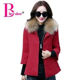 Wholesale Women Coat Collars - 2015 Women Winter Coat New Fashion Fake Fur Collar Pockets Nine Points Sleeve Casual Outwear Overcoat Women Woolen Cape Coat