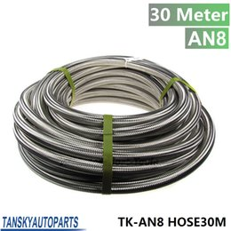 Wholesale Hose Ft - TANSKY - AN 8 30 Meter Stainless Steel Fuel Oil Gas Braided Hose Line 1 Ft TK-AN8 HOSE30M