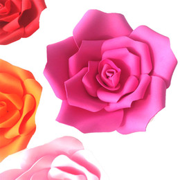 Wholesale Pink Foam Rose Flower - Artificial Rose Large Foam Flower Wedding Stage Background Wall Decoration Paper flower Home Party Decor Diameter 15 25cm