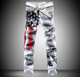 Wholesale Flying Flags - Fashion hot mens designer jeans men robin jeans famous brand denim with wings american flag plus size