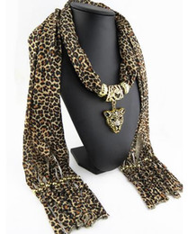Wholesale Resin Animal Heads Wholesale - Fashion Leopard Polyester Scarf For Women Leopard Head Pendant Scarves Lady Jewelry Charm Scarfs Long Size