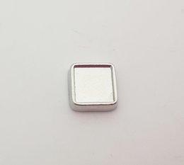2019 medalha de prata quadrada 6mm interior / 8mm de diâmetro externo de prata em branco quadrado encantos flutuantes para vidro vivendo medalhão foto DIY encantos fit medalhões jóias medalha de prata quadrada barato