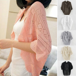 Casaco de malha de crochet de malha on-line-Moda feminina Queda Senhora bawting Manga Cardigan Tops de Malha Camisola Outwear Casaco Jaquetas de crochê casaco de ar condicionado