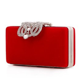 Wholesale Red Beaded Evening Clutch - Black Red Flannel Women Clutch Bags Diamond Evening Cosmetic Bag of Party Luxury Fashion Handbags Bling Day Clutches
