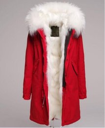 Wholesale Mr Natural - Beauitful White fur trim Mr & Mrs Italy white fox fur lining long red parka Finland Mr & Mrs furs fox fur jackets