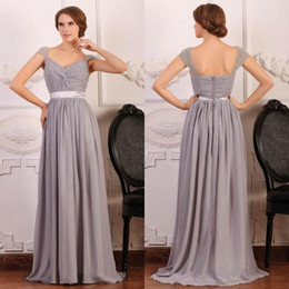 Wholesale Grey Junior Bridesmaid Dresses - Custom Made 2015 Romantic Bridesmaid Dresses with Blink Sequins Silver Grey Chiffon Portrait A-line Wedding Party 2015 evening dresses