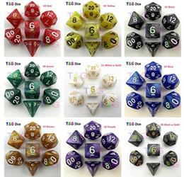 Wholesale Marbles Games - Wholesale- 7pcs bag High Quality Marble effect Dice Set, D4,d6,d8,d10,d10%,d12,d20 dice sets for Dnd Game dice