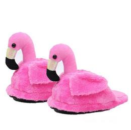 Wholesale Wholesale Women House Slippers - Flamingo Slippers Animal Furry Slippers House Shoes Warm Winter Slippers for Women Girl 2pcs pair Soft Stuffed Toys LJJO3566