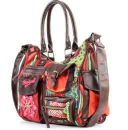 Wholesale Designer Womens Handbag - 2018 Women Totes embroidery Girls Brand Luxury Designer Ladies Leather Handbags Spanish style Womens why Bags Shoulder Bags