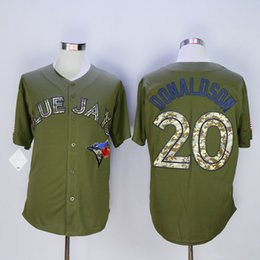 Wholesale Cheap Camo Uniforms - Green Blue Jays #20 Josh Donaldson Baseball Jersey with Camo Number Cheap Baseball Shirts Men's Baseball Uniforms Stitched Name and Number