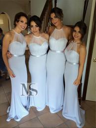 Wholesale Satin Ribbon Mermaid Wedding Dress - New Arrival Light Sky Blue Bridesmaid Dresses Halter Sheer Tulle Ribbon Sash 2015 Spring Wedding Dresses Mermaid Wedding Party Evening Gowns