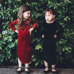 Wholesale Velvet Cheongsam - Christmas party dress 4 color Ins children pleuche long sleeve open fork long dress chinese style girls velvet cheongsam dress R1408