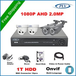 Wholesale Dvr Cctv Complete Security System - Complete kit Full HD 1080P AHDH CCTV System 4CH 1080P DVR Kit 2.0mp home Night Vision Security Camera System +1TB HDD+100m cable