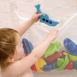 Wholesale Hanging Bath Basket - 35*45cm Folding Mesh Toy Storage Bag Eco-Friendly Baby Bathroom Mesh Bag Child Bath Net Bag Suction Cup Baskets Organizer Bags IC887