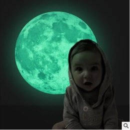 Wholesale Moon Room Wall Light - 3D Luminous Planet Wall Stickers World Moonlight In The Dark Moon Earth Wall Decals For Kids Rooms Wall Decoration Christmas Gifts