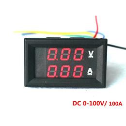 Wholesale Wholesale Motorcycle Batteries - 4 PCS Red LED Digital DC Voltmeter Ammeter DC 0-100V 100A Voltage Current Meter Volt Amp Meter Car Motorcycle Battery Monitor