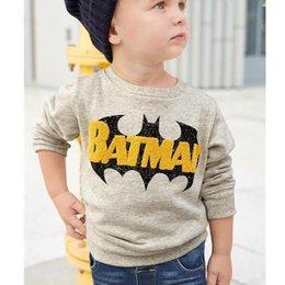 Wholesale Batman Tops - Batman Boy sweatshirt Long sleeve Cool Casual Terry Tops Middle Big Children clothes Round neck Autumn Spring 2-7T Wholesale