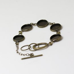 Wholesale Metal Base Cabochon - Beadsnice metal bracelet blank brass bangle setting glass cabochon base with 5 blanks for 16mm round resin and cab etc ID 12145