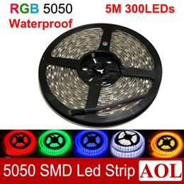 Wholesale Tape Leds Free Shipping - Waterproof IP65 RGB 5050 SMD LED Strip Light 5 M 300 Leds Light Ribbon Tape Living Room Decoration home lighting free shipping